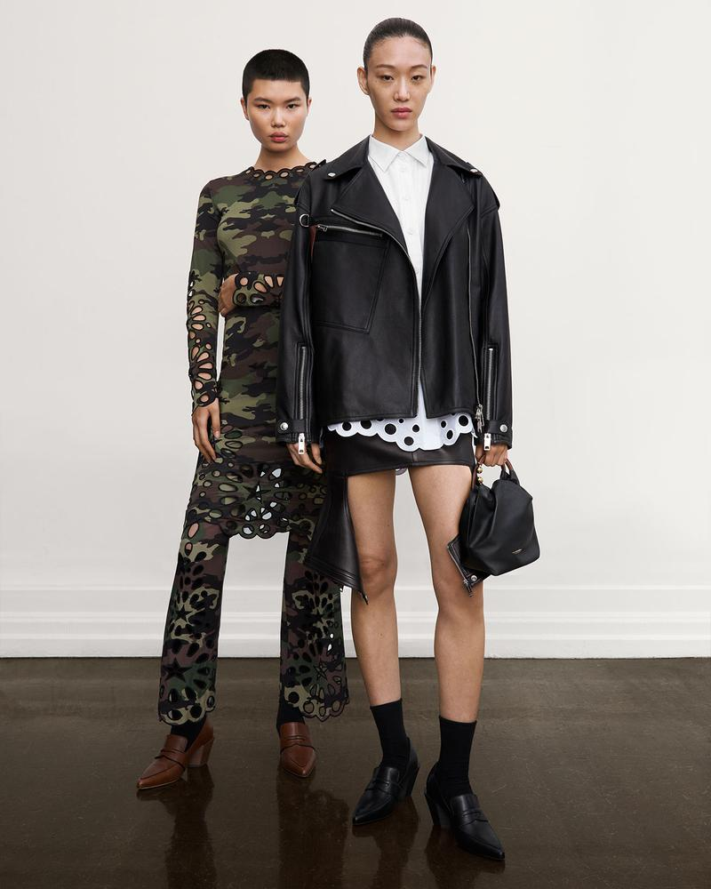 burberry fall winter fw21 pre-collection riccardo tisci khaki camo print leather jacket skirt