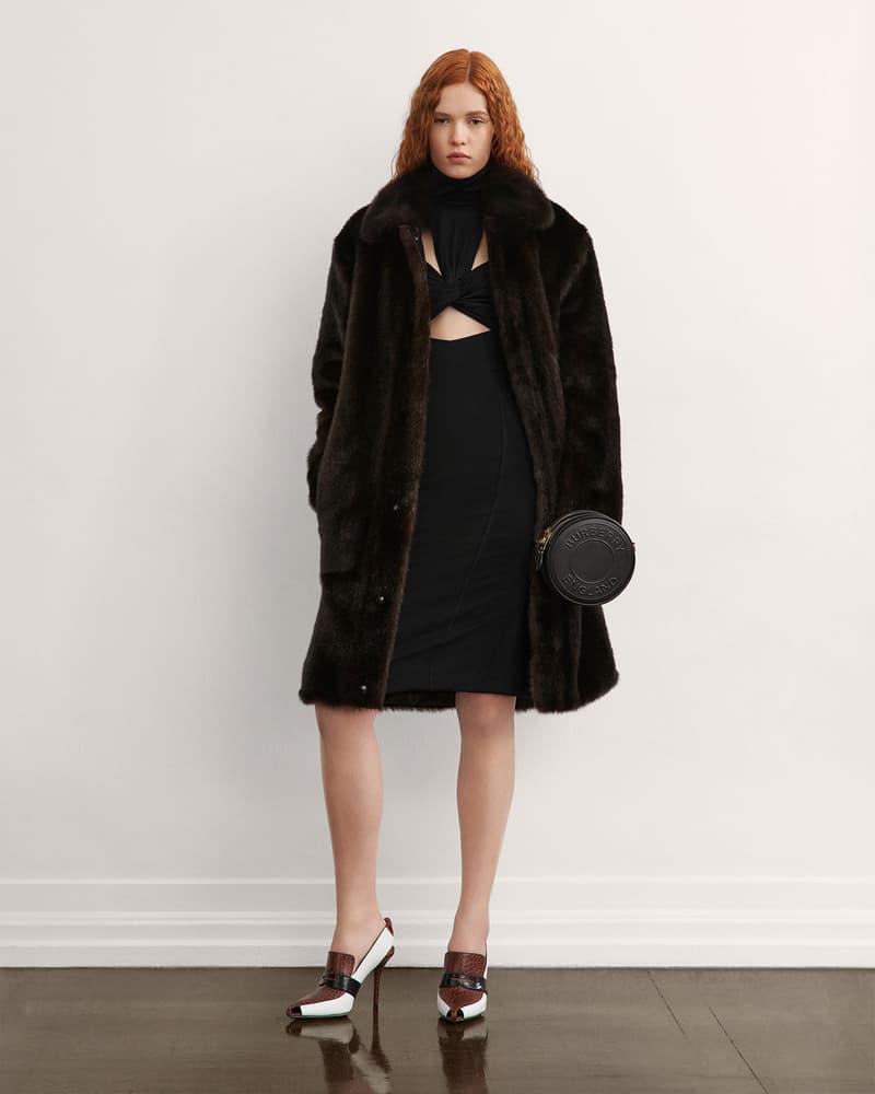 burberry fall winter fw21 pre-collection riccardo tisci black dress faux fur coat