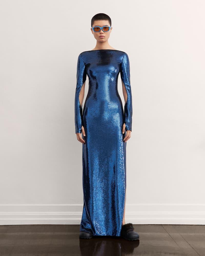 burberry fall winter fw21 pre-collection riccardo tisci blue sequin dress glitter shiny