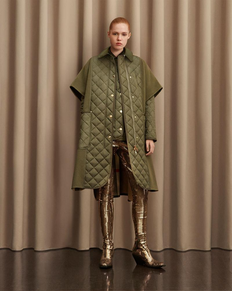 burberry fall winter fw21 pre-collection riccardo tisci khaki padded coat boots