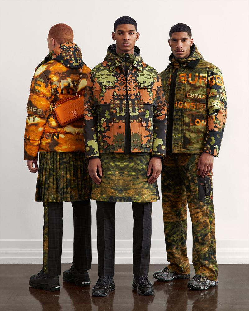 burberry fall winter fw21 pre-collection riccardo tisci camo digital parint trousers jackets outerwear
