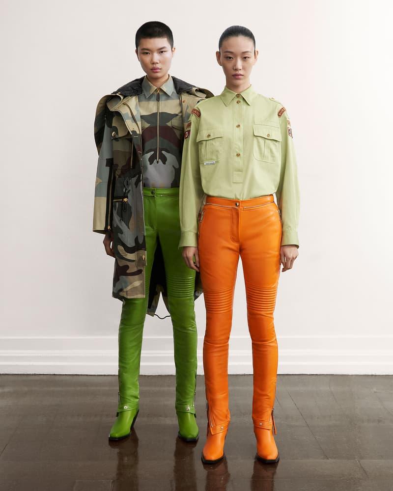burberry fall winter fw21 pre-collection riccardo tisci orange green trousers army shirt camo print