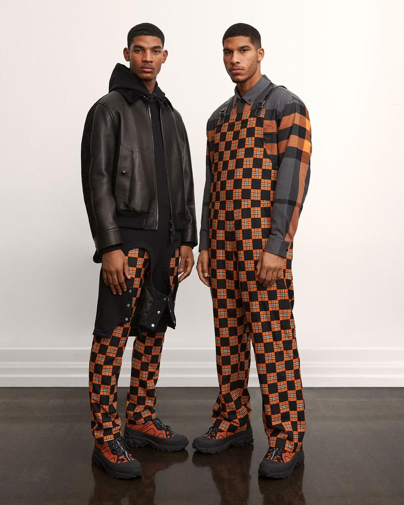 burberry fall winter fw21 pre-collection riccardo tisci logo print overalls leather jacket