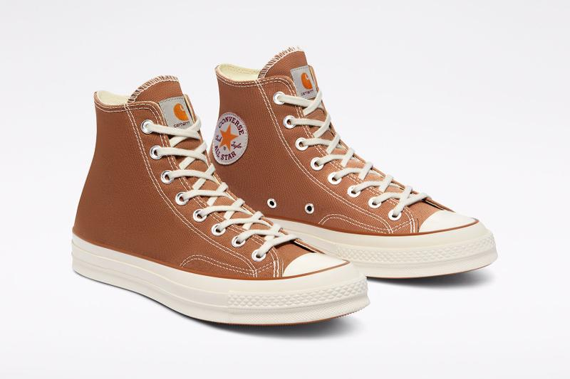 carhartt wip converse chuck 70 icons collaboration sneakers hamilton brown canvas logo details toebox