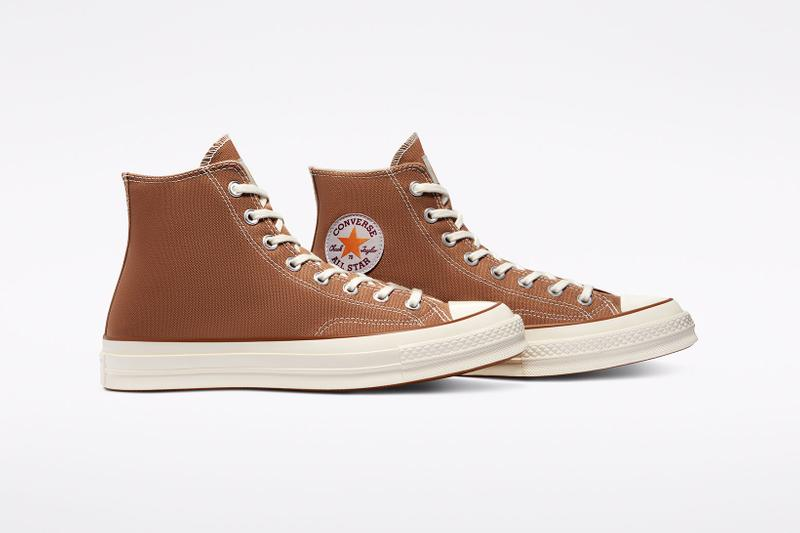 carhartt wip converse chuck 70 icons collaboration sneakers hamilton brown canvas logo side