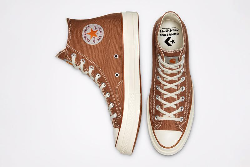 carhartt wip converse chuck 70 icons collaboration sneakers hamilton brown canvas logo side top toe box insoles
