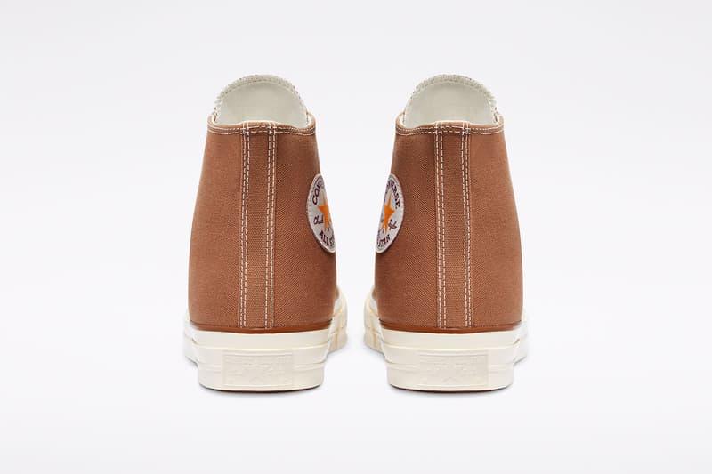 carhartt wip converse chuck 70 icons collaboration sneakers hamilton brown canvas logo back heel rear