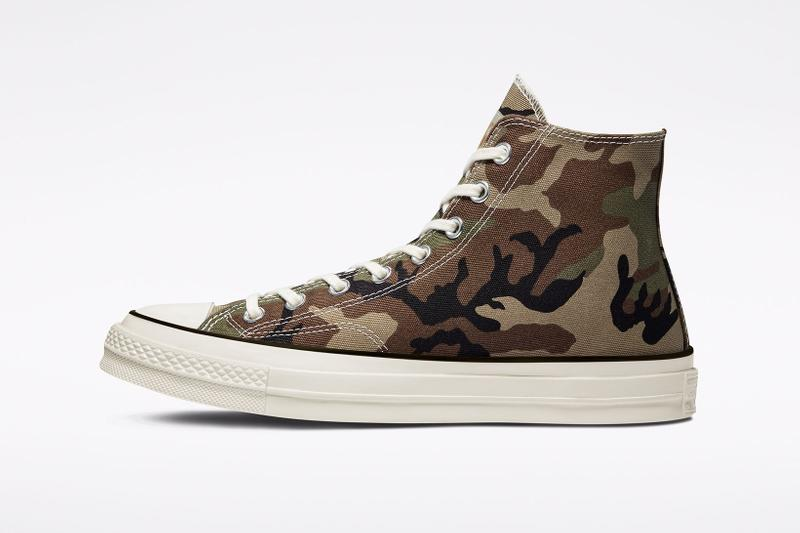 carhartt wip converse chuck 70 icons collaboration sneakers camouflage medial side details