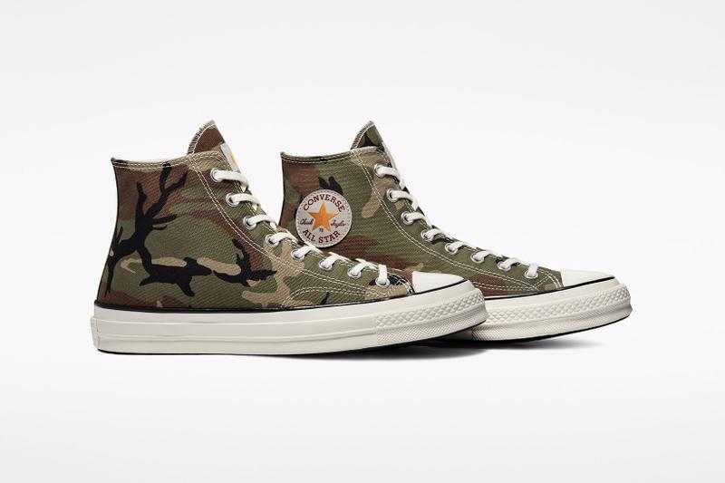 carhartt wip converse chuck 70 icons collaboration sneakers camouflage pattern details logo
