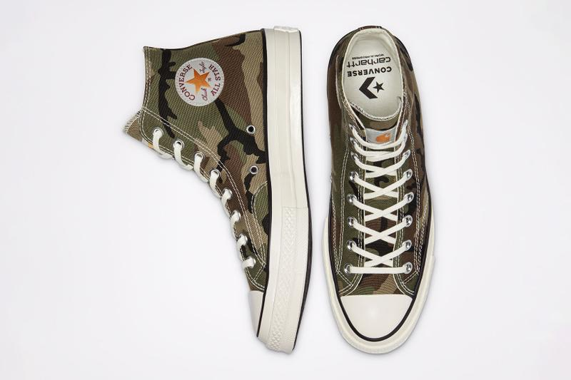 carhartt wip converse chuck 70 icons collaboration sneakers camouflage pattern details top toebox insoles