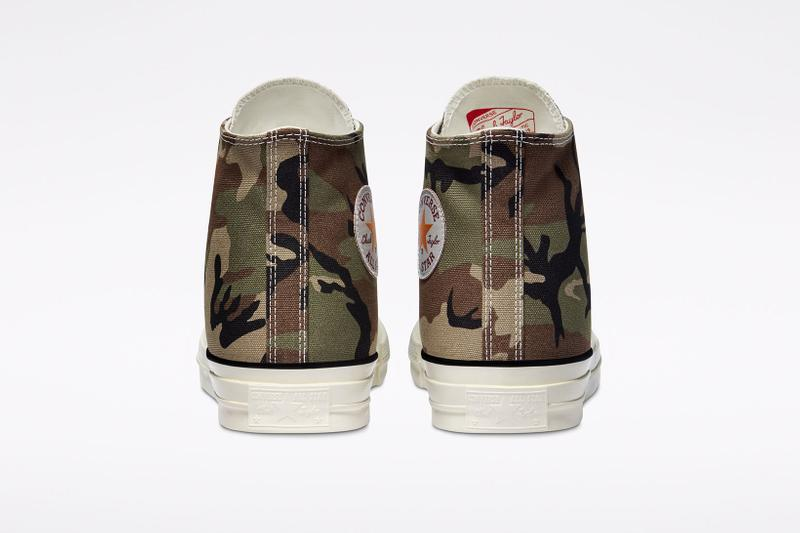 carhartt wip converse chuck 70 icons collaboration sneakers camouflage pattern back rear heel