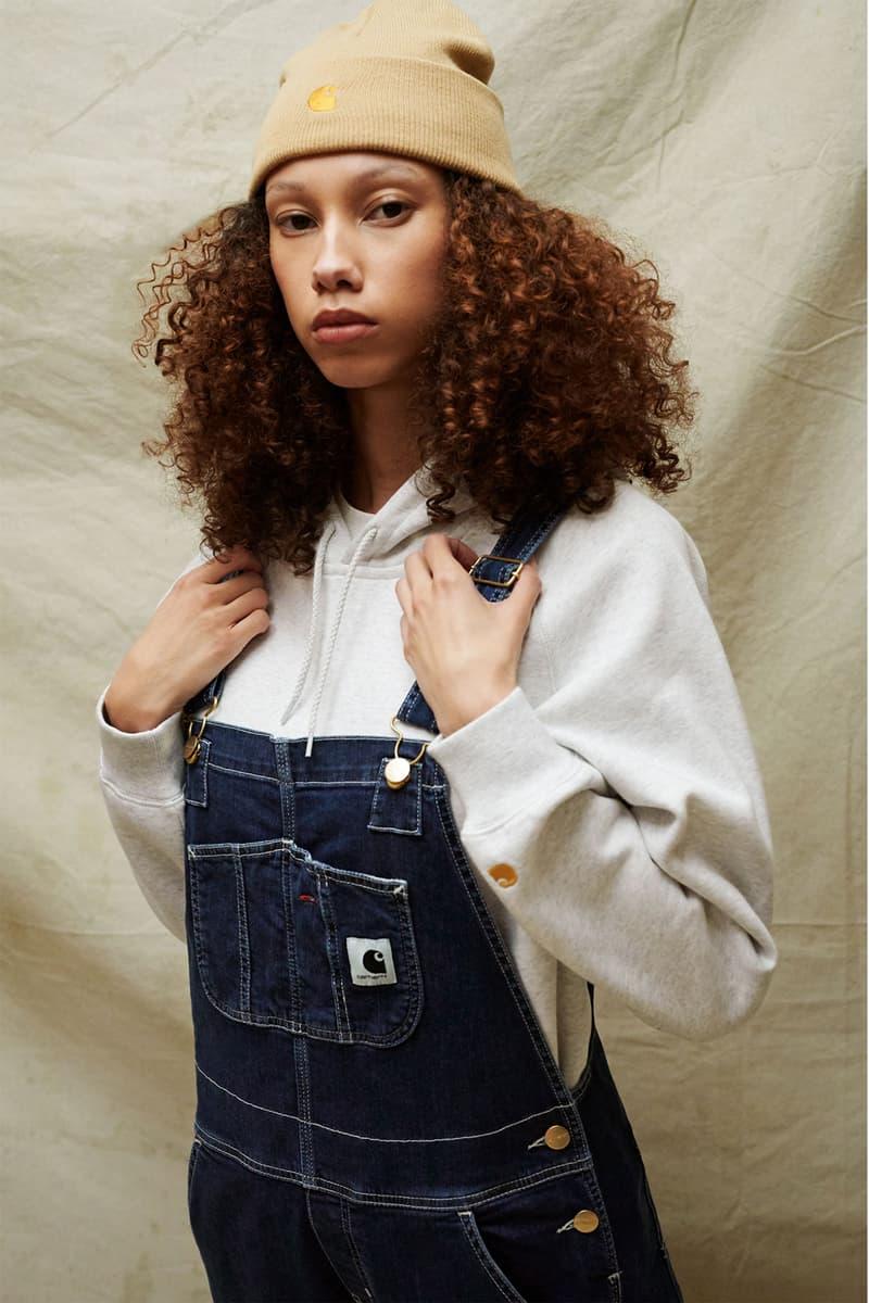 carhartt wip spring summer 2021 ss21 collection lookbook logo beanie denim overall jeans hoodie