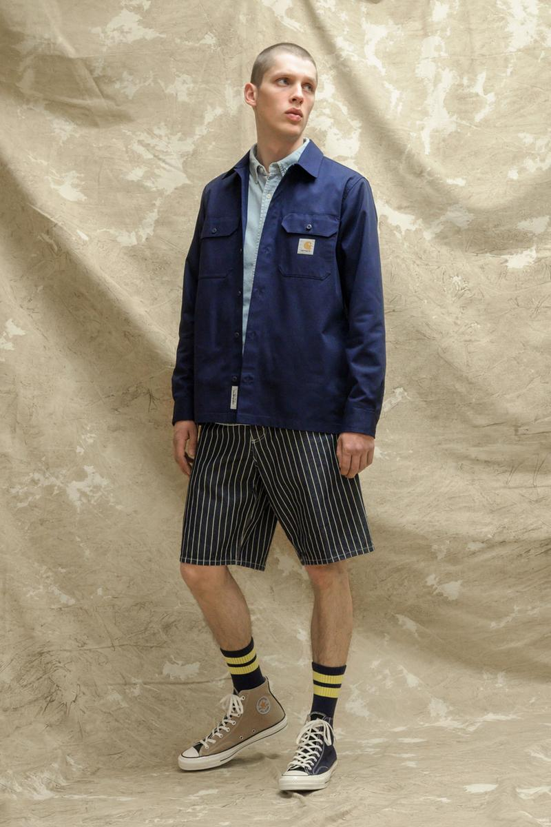 carhartt wip spring summer 2021 ss21 collection lookbook coach jacket striped shorts converse