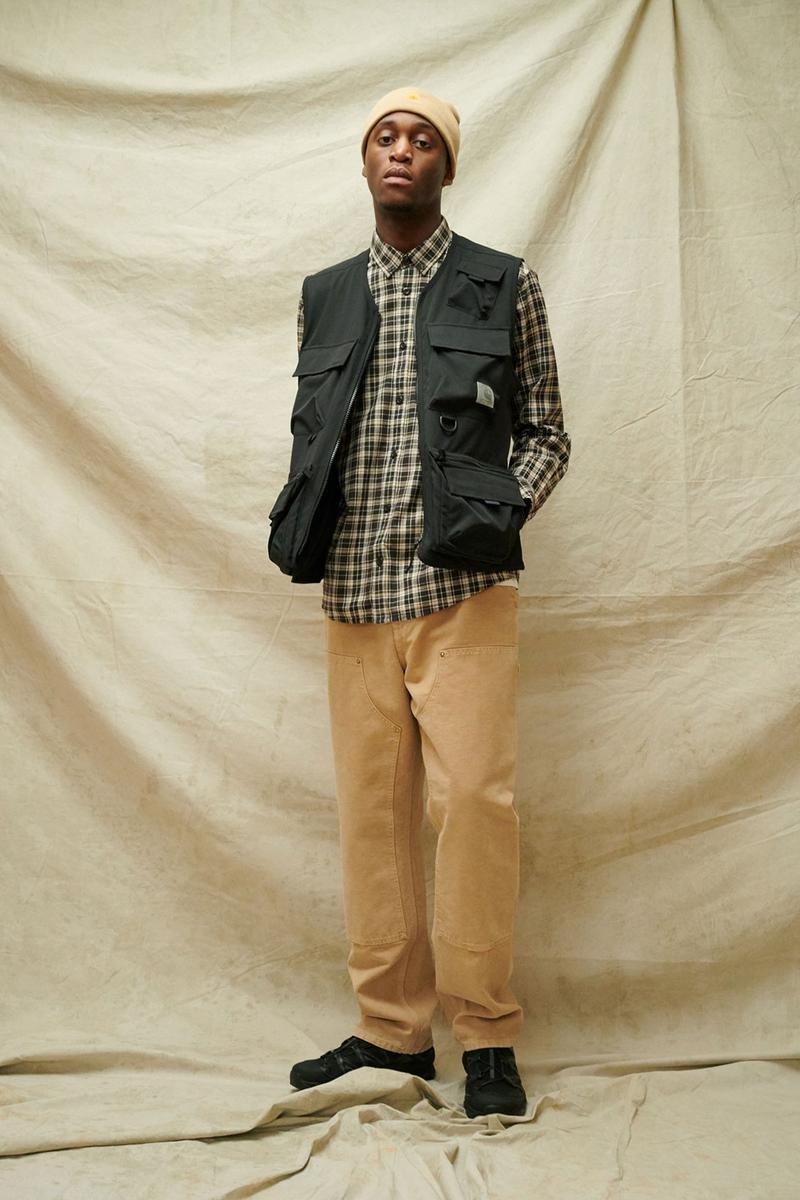 carhartt wip spring summer 2021 ss21 collection lookbook utility vest plaid check shirt beanie