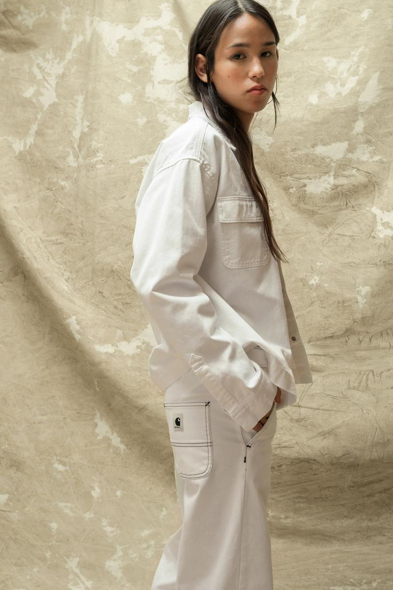 carhartt wip spring summer 2021 ss21 collection lookbook white denim jacket jeans logo