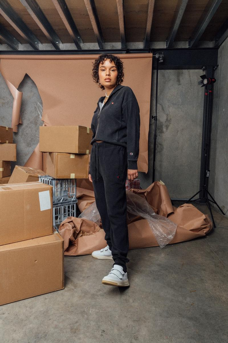 champion sustainable rebound washed black collection drop 2 hoodie sweatpants sneakers boxes