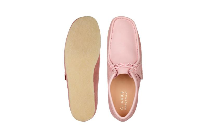 clarks originals combi wallabee pastel pink rose colorway footwear shoes insole sole brown