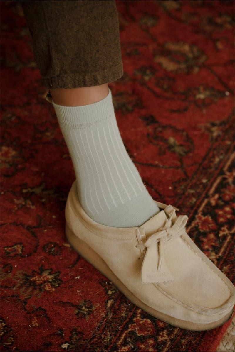 comme si lichen collaboration lookbook socks green clarks wallabee beige jayden hooper