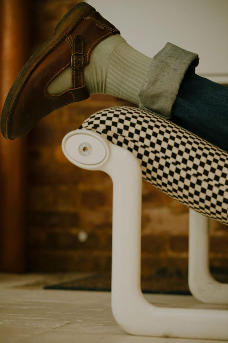 comme si lichen collaboration lookbook socks loafers green jeans chair