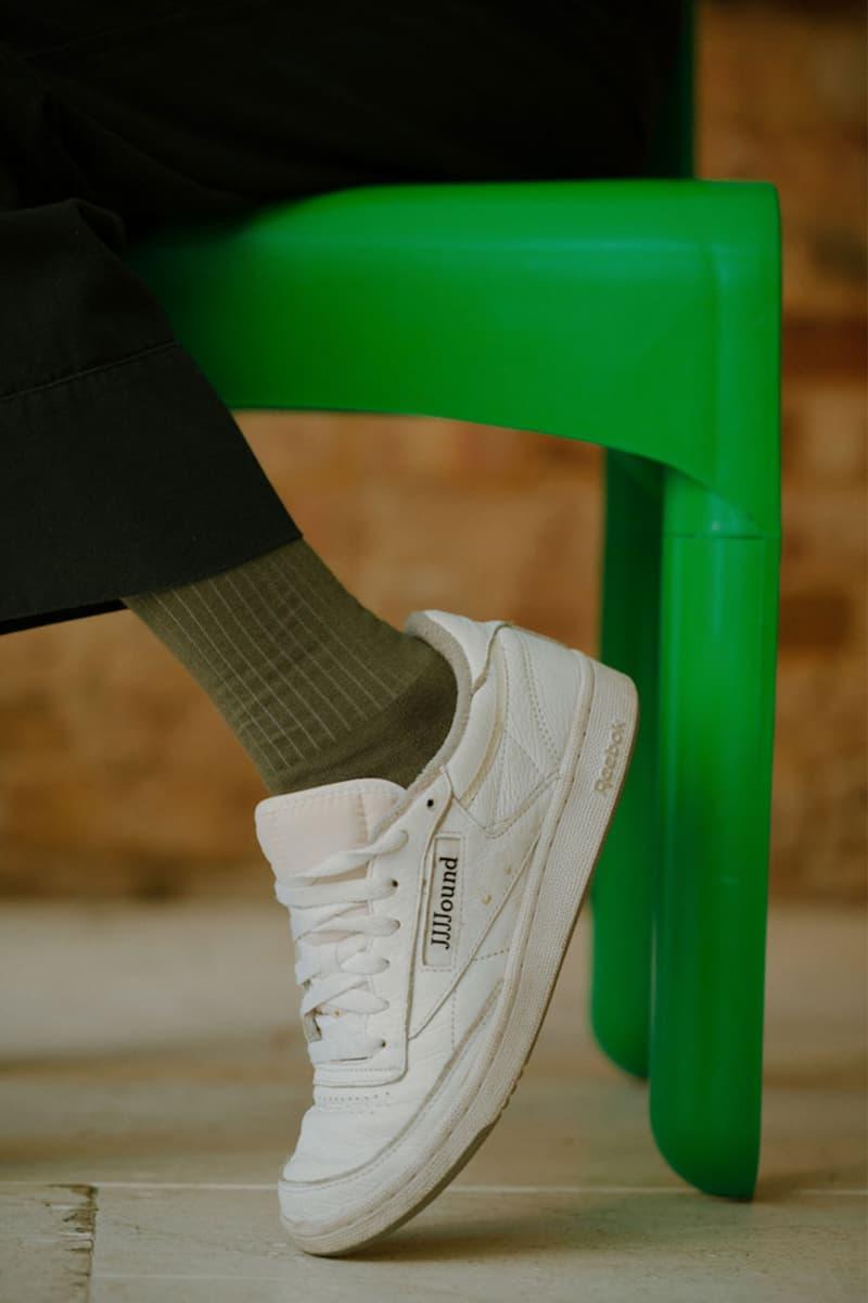 comme si lichen collaboration lookbook socks khaki green jjjjound reebok club c