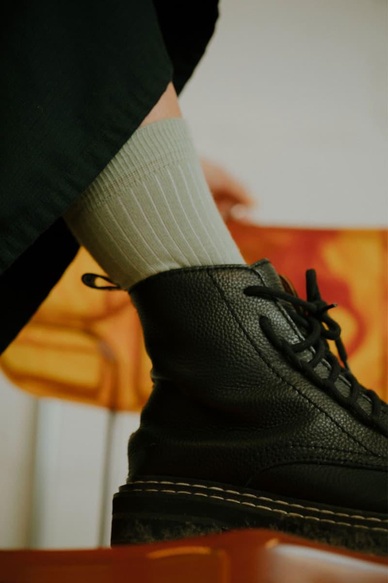 comme si lichen collaboration lookbook socks khaki moss green black boots ankle