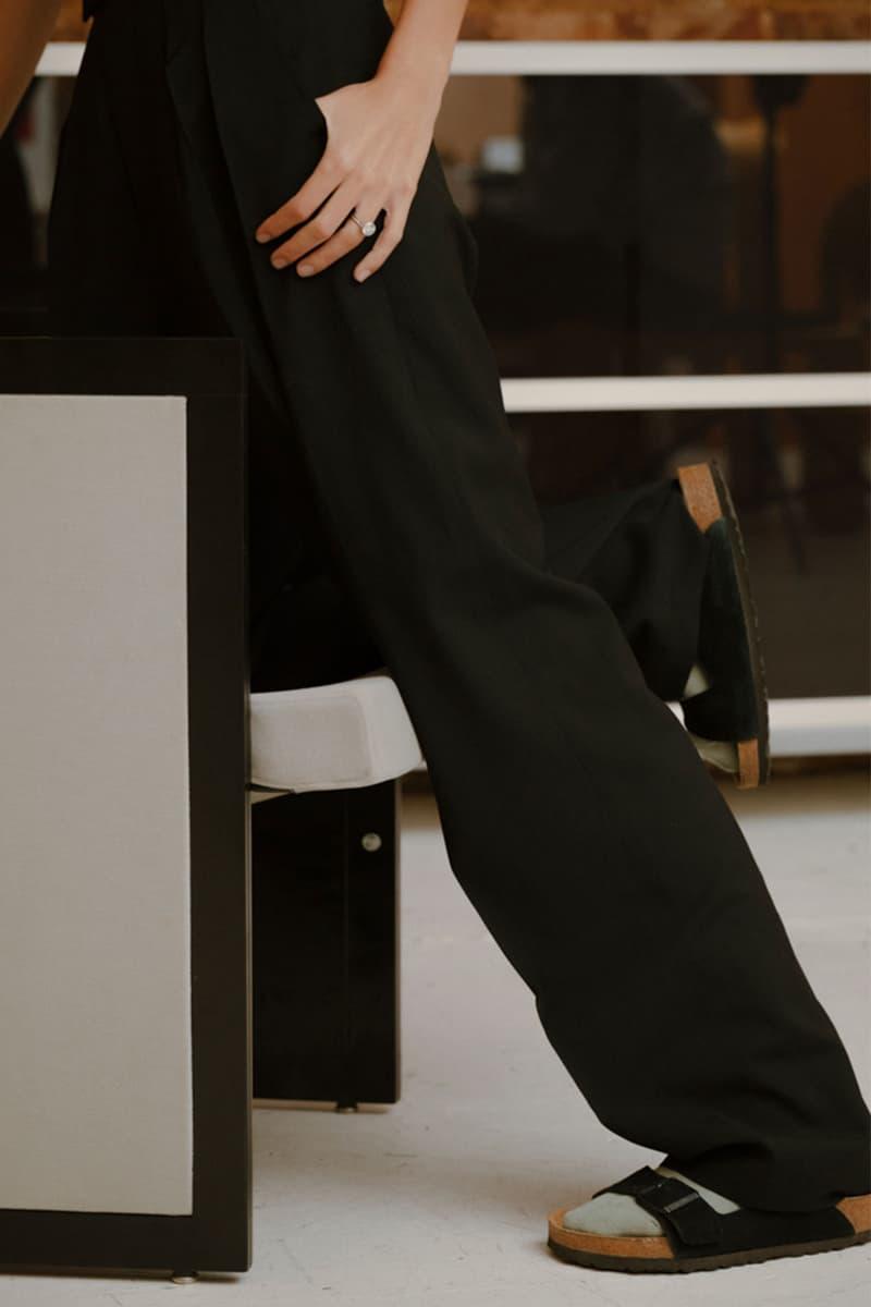 comme si lichen collaboration lookbook loose black pants trousers birkenstocks slides socks