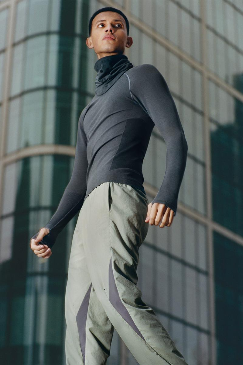 cos activewear collection drop 2 mens long sleeve top pants gray green