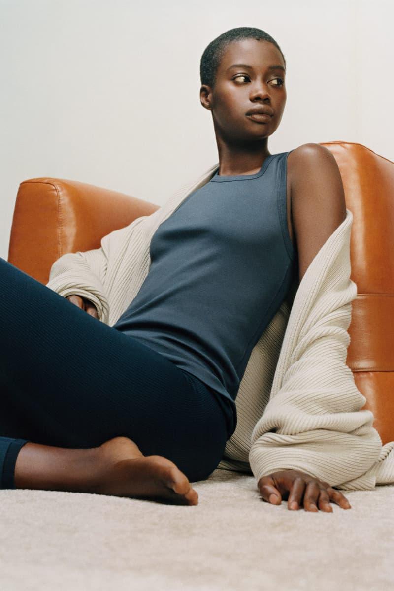 cos activewear collection drop 2 womens tank top leggings sweater cardigan sweater black gray beige sofa