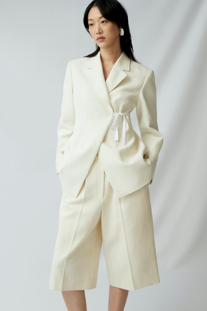 sora choi cos spring womenswear summer collection lookbook white jacket pants outerwear earrings jewelry