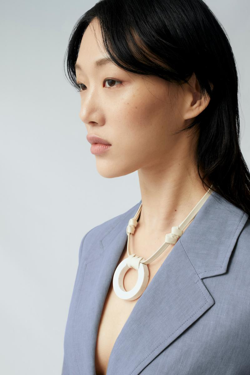 sora choi cos spring womenswear summer collection lookbook white necklace jewelry accessoryes blue gray jacket outerwear