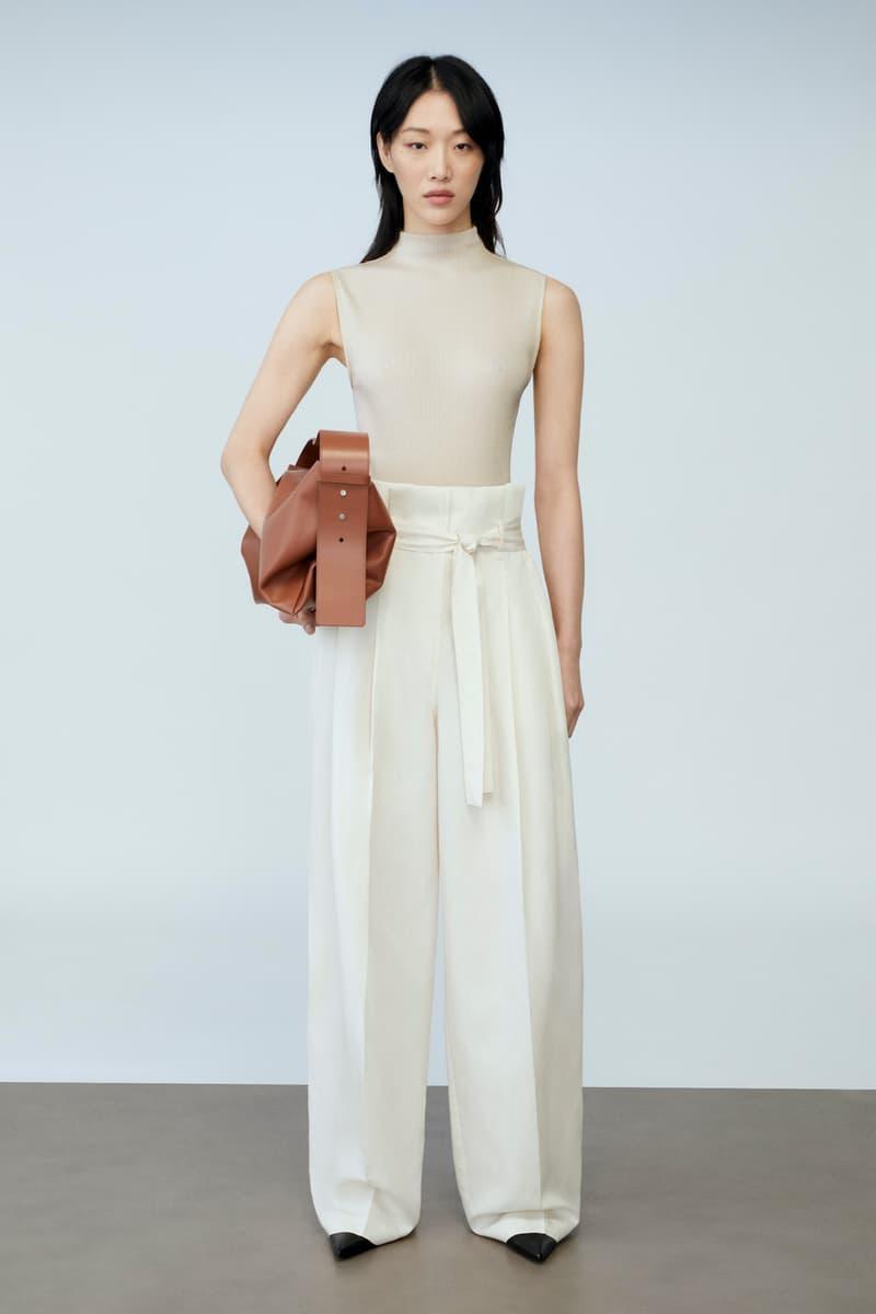 sora choi cos spring womenswear summer collection lookbook beige turtle neck top white pants black shoes heels brown bag