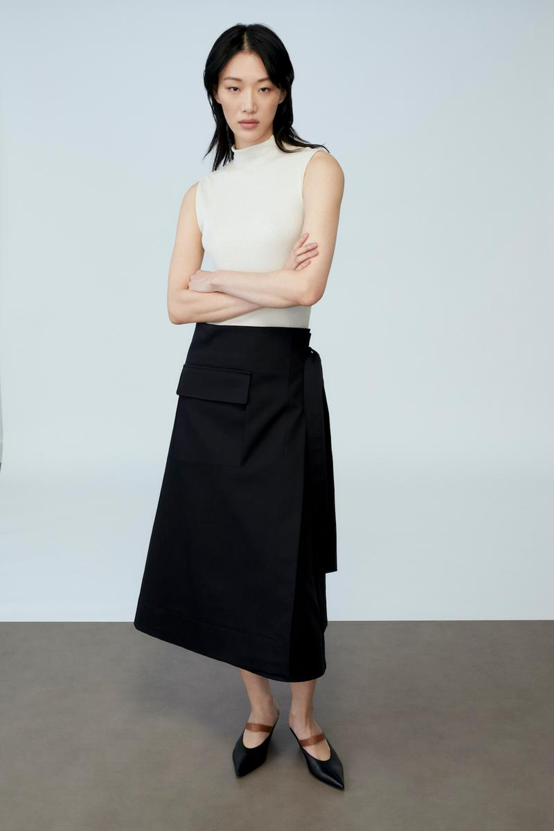 sora choi cos spring womenswear summer collection lookbook beige top black skirt heels shoes sandals