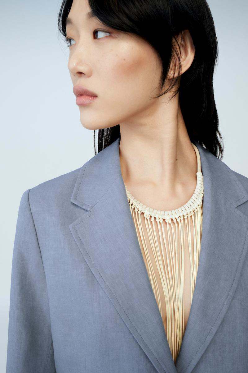 sora choi cos spring womenswear summer collection lookbook white fringe necklace gray blue jacket outerwear
