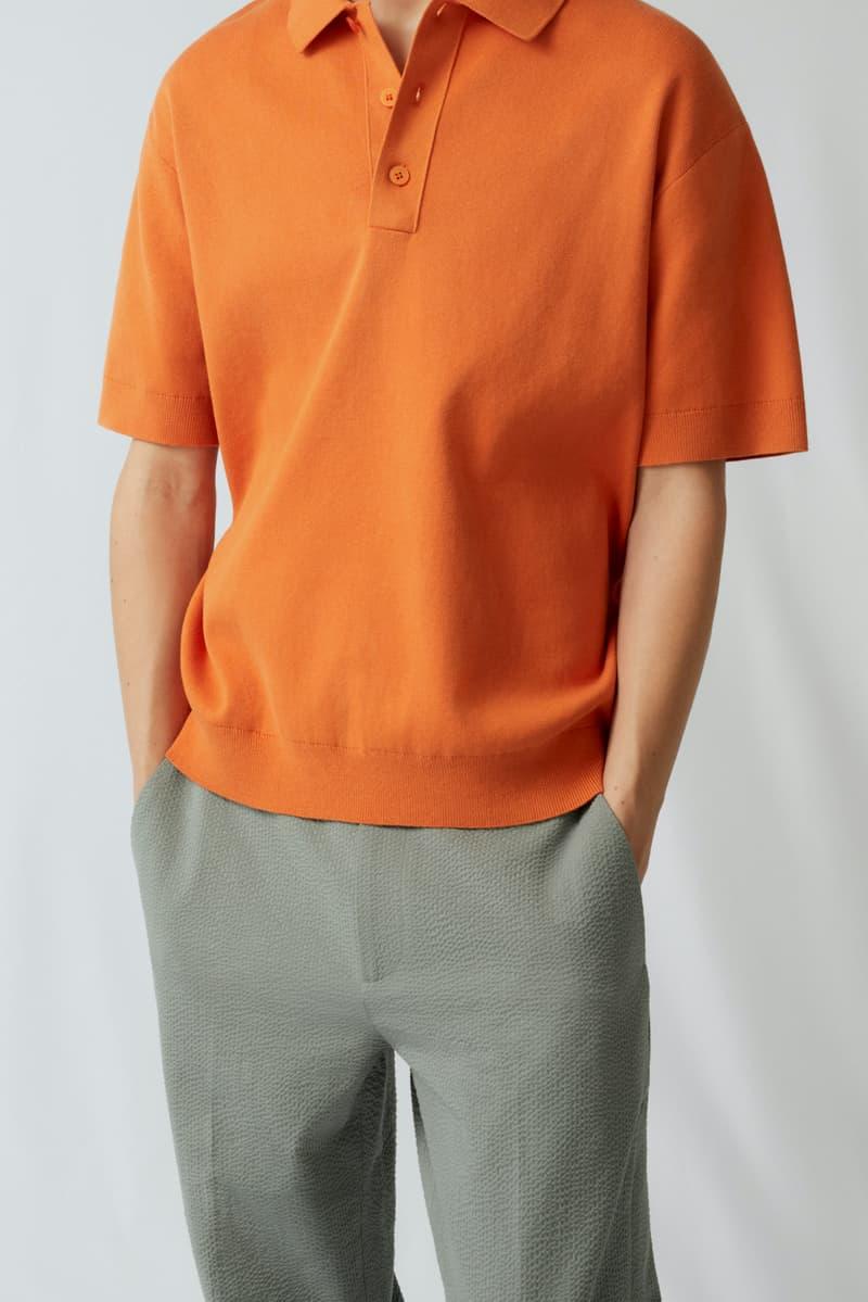 cos spring menswear summer collection lookbook orange collar t shirt gray pants