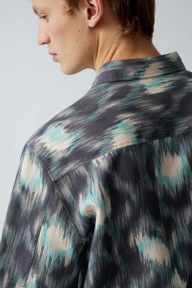 cos spring menswear summer collection lookbook shirt print blue gray white