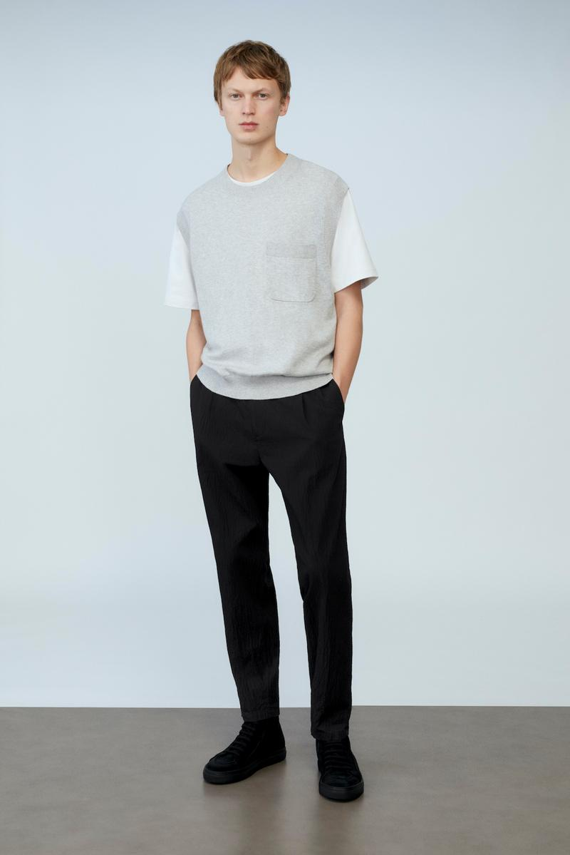 cos spring menswear summer collection lookbook gray white tee t shirt pants black shoes