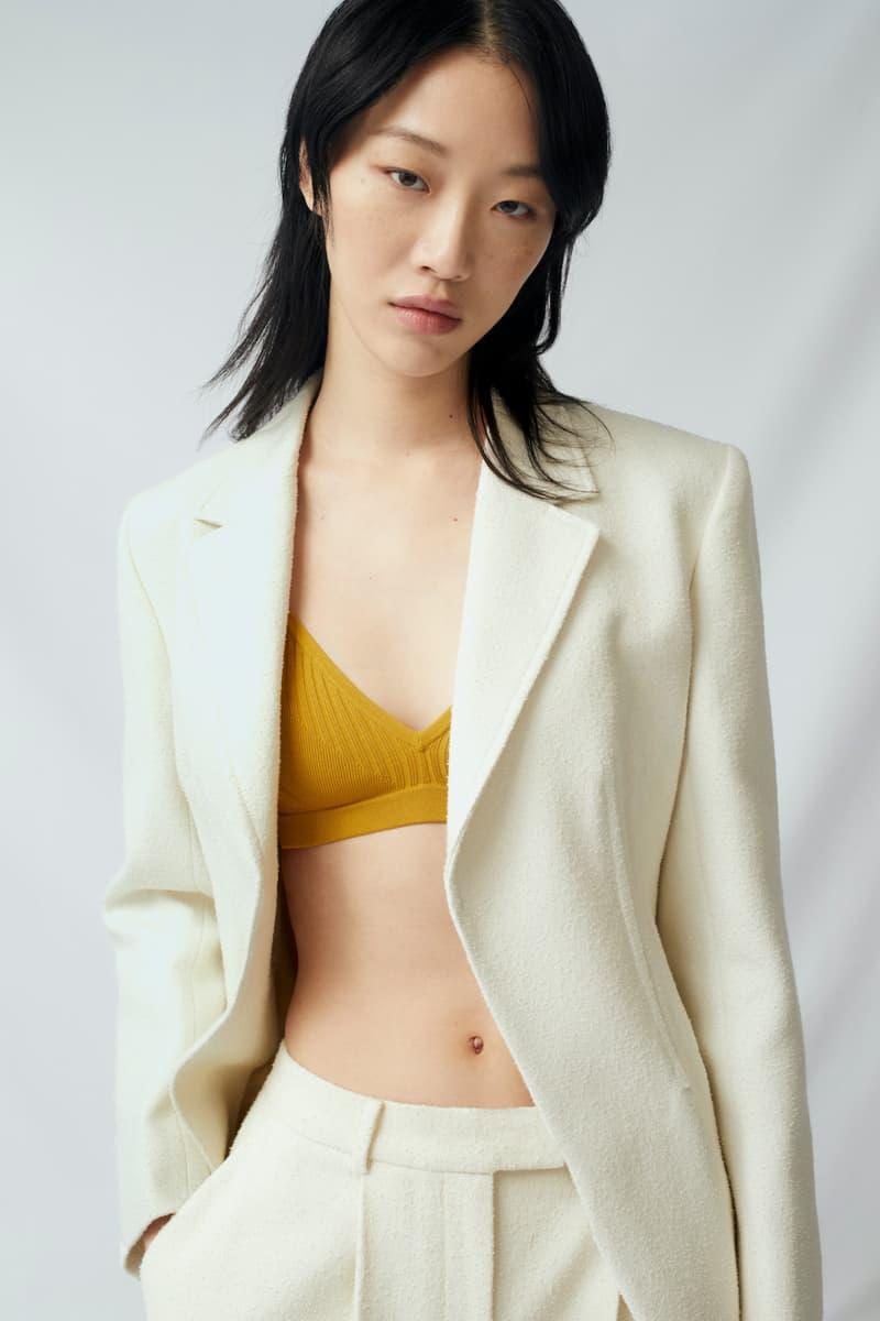 sora choi cos spring womenswear summer collection lookbook white jacket outerwear mustard yellow bralette
