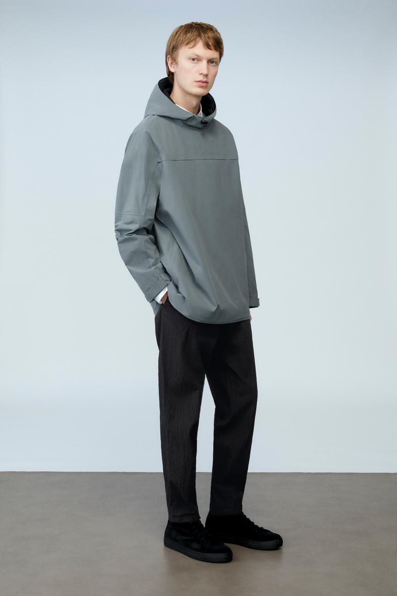 cos spring menswear summer collection lookbook gray hoodie jacket outerwear pants black shoes