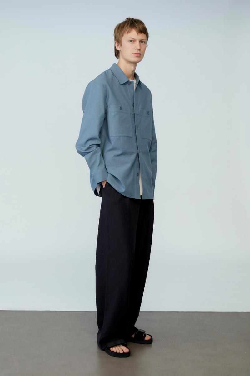 cos spring menswear summer collection lookbook blue shirt pants sandals