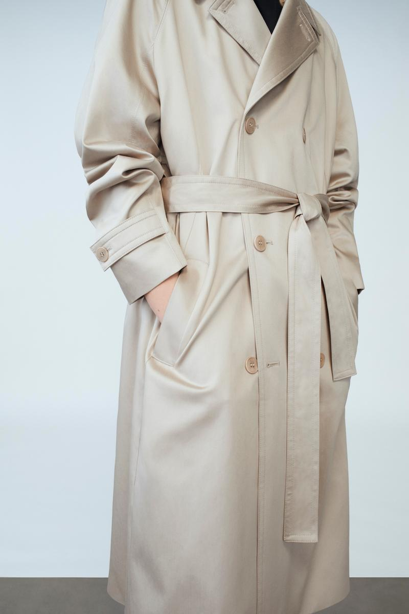cos spring menswear summer collection lookbook beige trench coat outerwear