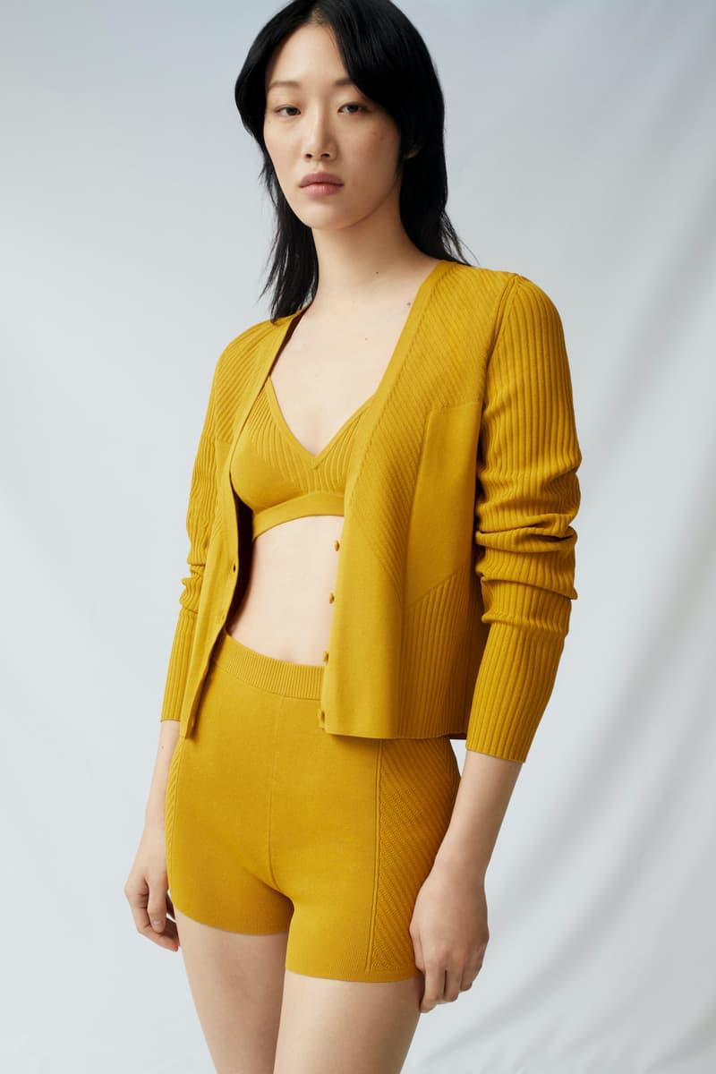 cos spring womenswear summer collection lookbook mustard yellow knitwear cardigan sweater bralette biker shorts