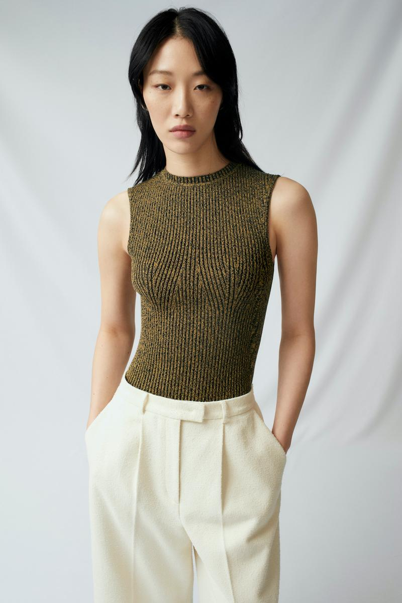 sora choi cos spring womenswear summer collection lookbook olive green tank top white pants