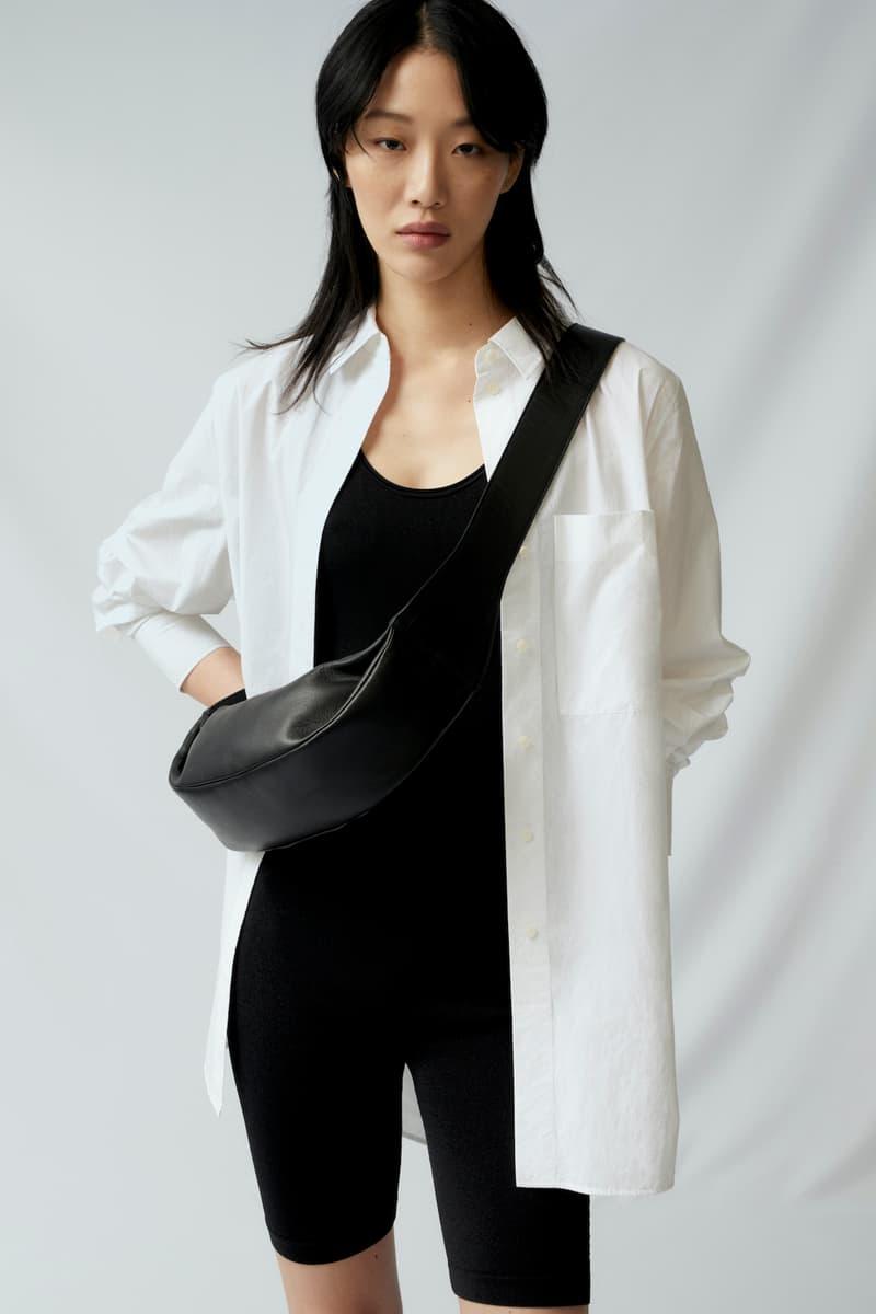 sora choi cos spring womenswear summer collection lookbook white oversized shirt black jumpsuit belt bag