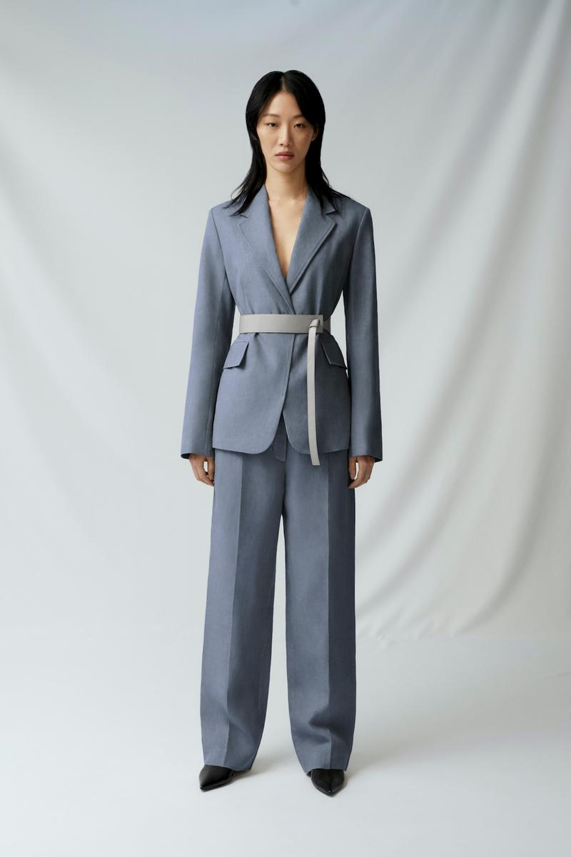 sora choi cos spring womenswear summer collection lookbook blue gray pantsuit jacket belt pants shoes heels