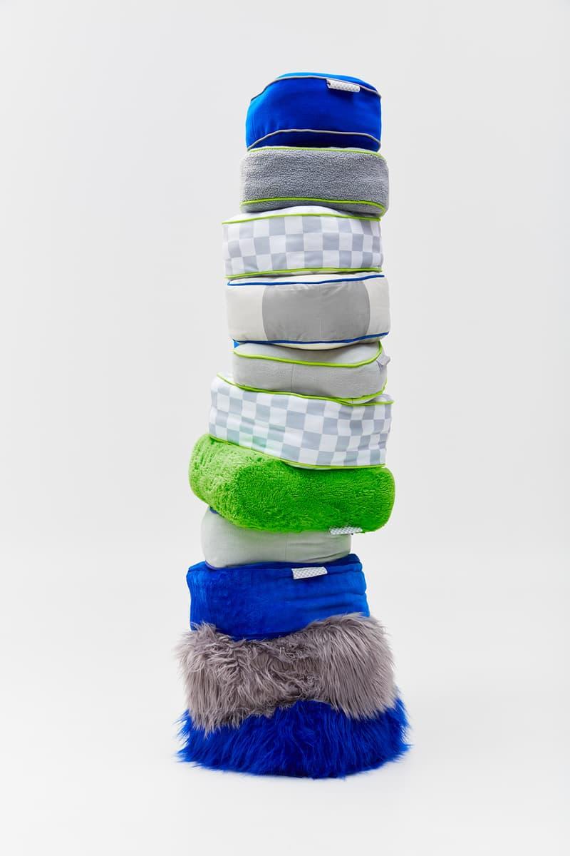 crosby studios homeware collection hbx pillows blue gray green fur fleece