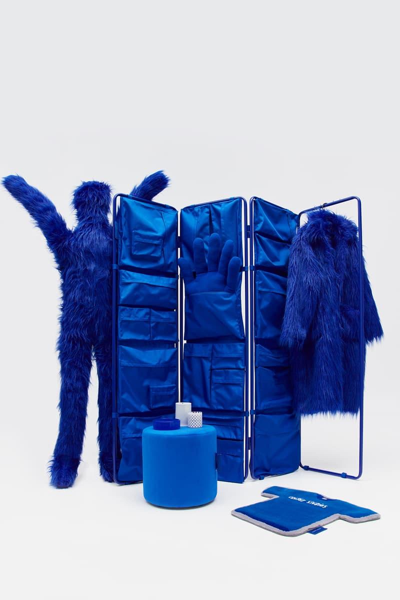crosby studios homeware collection hbx ottoman chair blue fur coat carpet
