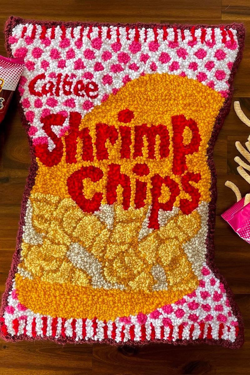 cynthia chen asian snack inspired rugs home decor shrimp chips calbee