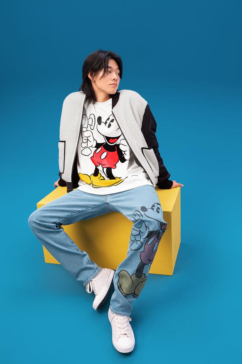 disney levis mickey and friends collaboation denim jeans white jacket character tee shirt