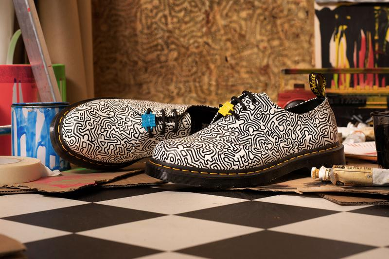 Dr. Martens Keith Haring Collaboration Boots Shoes 1461 White Black Patterns Illustrations