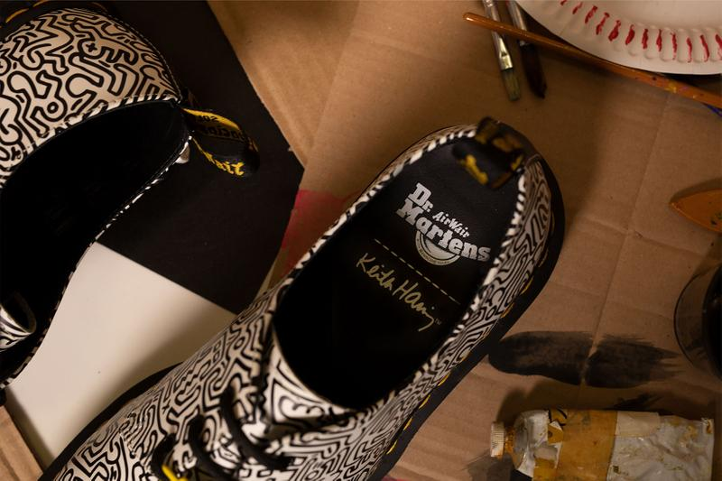 Dr. Martens Keith Haring Collaboration Boots Shoes 1461 Derby White Black Illustrations Art Drawing Insoles Logo